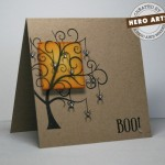 tree and fire handmade card