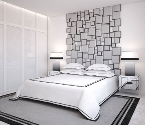 black and white bedroom wal
