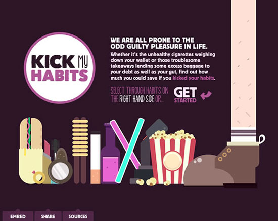 Kick my Habits - Awesome Bright and Colorful Website Designs Free