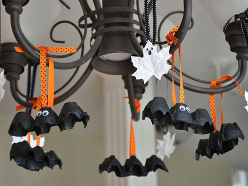 EggCartonBatsGhostLeaves - Halloween Craft Ideas