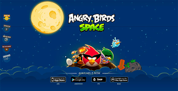 Angry Birds Space - Single Page Web Design Inspirations