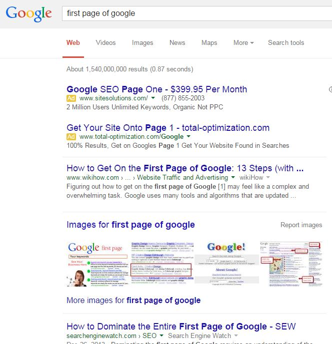how to be on first page of google search