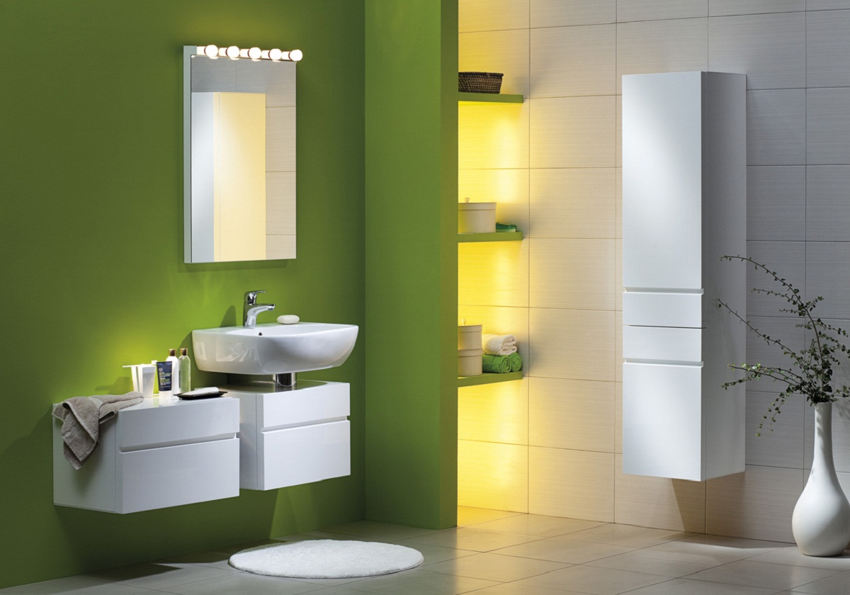with other colors to give a desired look to your bathroom accent wall
