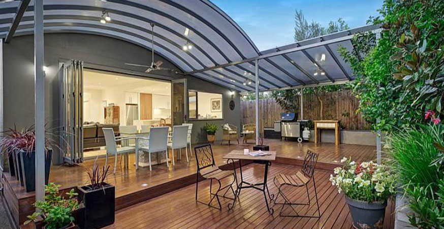 Ideas for outdoor pergola design with stylish roofs for Open pergola designs