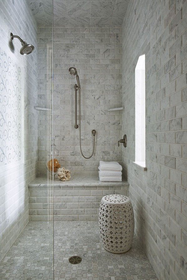 Modern bathroom design with corner bath using tiles bathroom photo - 40 Creative Ideas For Bathroom Accent Walls Designer Mag