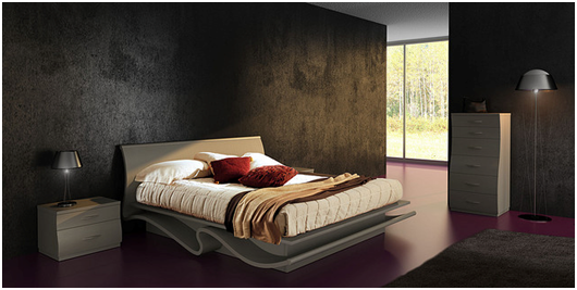 2.Chic bedroom design with black wallpaper