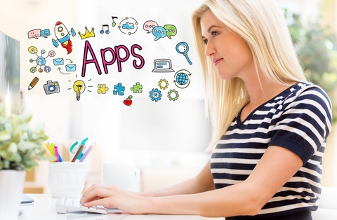 Woman Looking for Best Apps